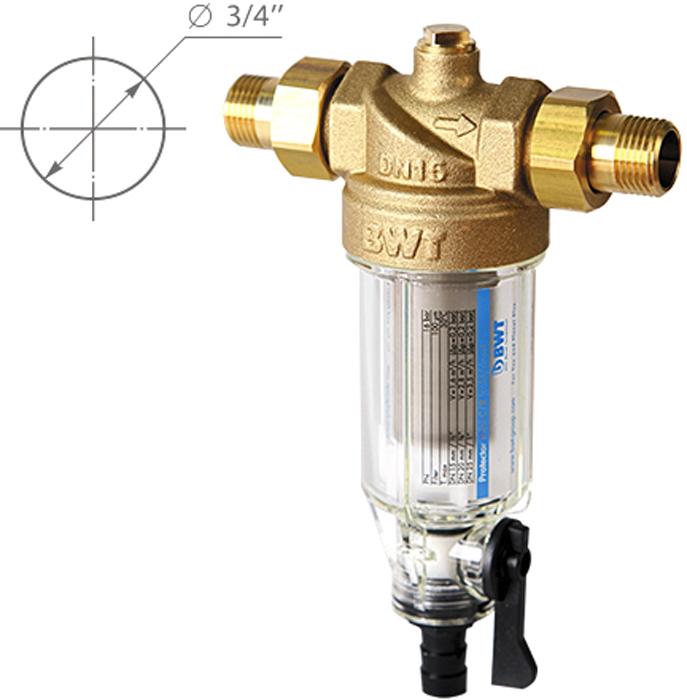Водоочиститель BWT Protector Mini Х/в 3/4, прямая промывка9022000105234Магистральный фильтр Protector Mini устанавливается на линиях холодной воды для очистки от механических примесей и контроля давления воды в квартире