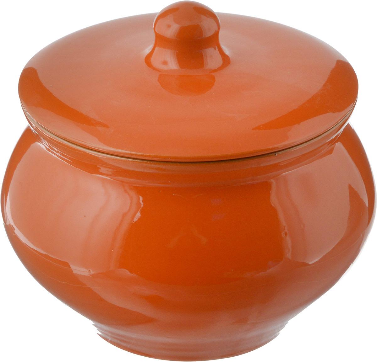 Горшочек для запекания Борисовская керамика Радуга, цвет: оранжевый, 1,3 лРАД00000336_оранжевый