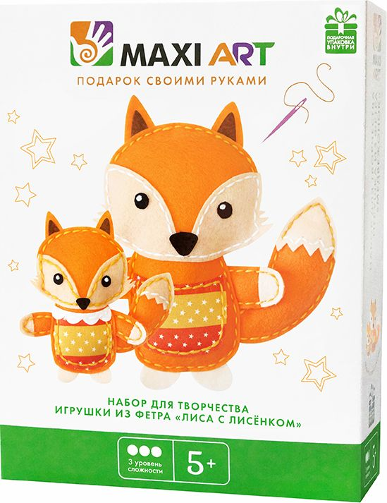 Maxi Art Набор для творчества Игрушка из фетра Лиса с лисёнком набор для творчества цветница набор для шитья текстильной игрушки обезьянчик с карманчиком