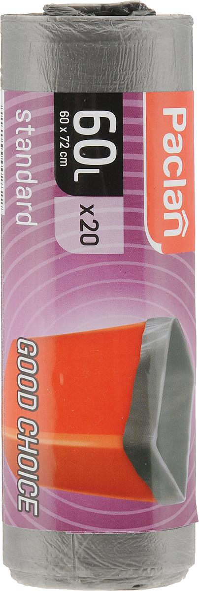 Мешки для мусора Paclan Standart, цвет: серый, 60 л, 20 шт402110/163467_серыйМешки для мусора Paclan Standart со стандартной ровной горловиной подойдут для любого мусорного контейнера или ведра. Особая технология производства создает равномерную толщину пленки пакетов, что обеспечивает их эластичность. Пакеты отлично защищают от грязи и неприятного запаха, препятствуют проникновению микробов. Удобная выкройка и размеры способствуют равномерному распределению мусора и надежности при переносе пакета.В упаковке 20 штук в виде рулона с перфорацией для отрыва.