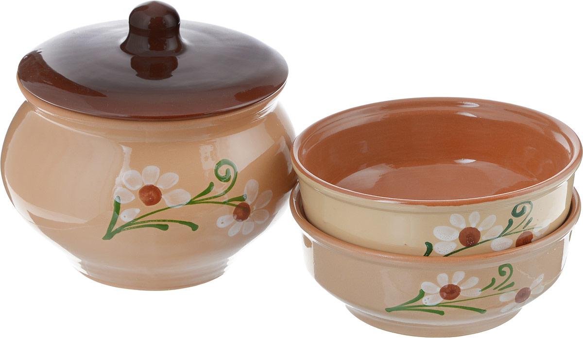 Горшочек для запекания Борисовская керамика Русский, с 2 мискамиОБЧ00000190_светло-коричневый