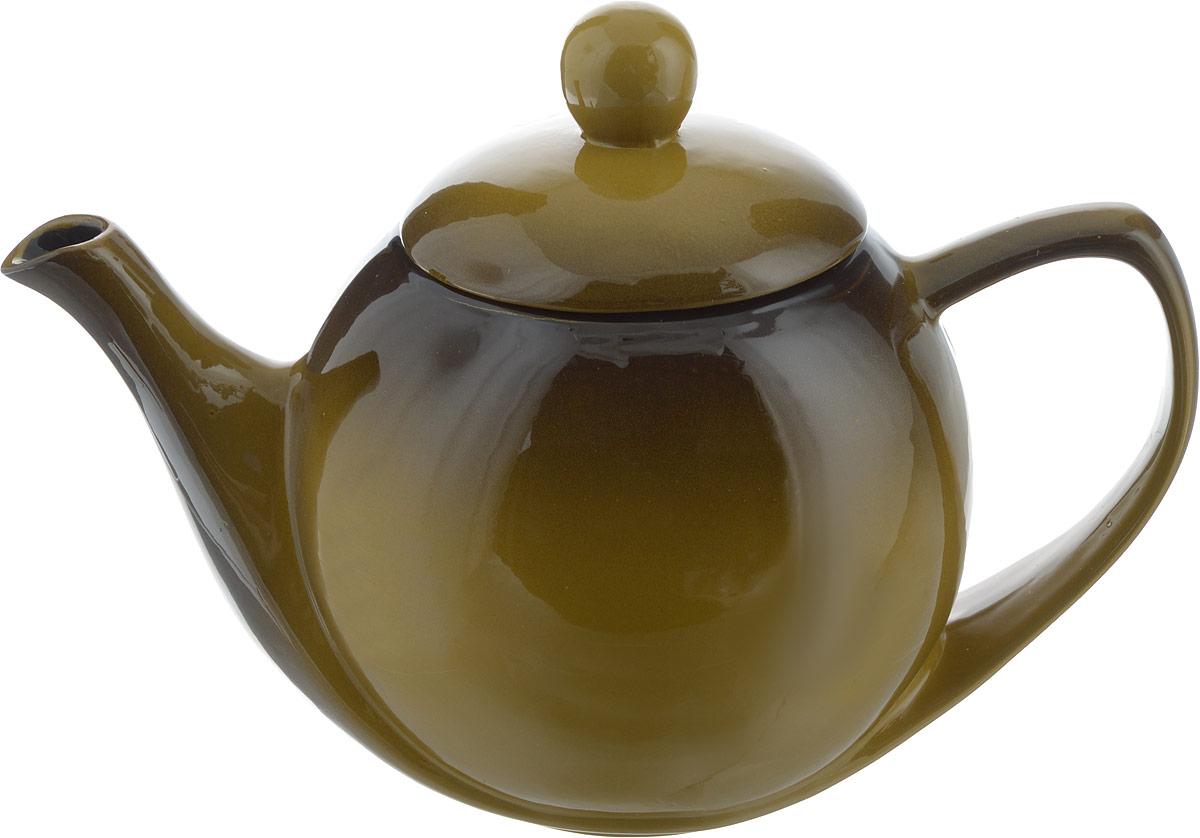 Чайник заварочный Борисовская керамика Элегант, цвет: горчичный, коричневый, 1,2 л. РАД00003447РАД00003447_горчичный, коричневый