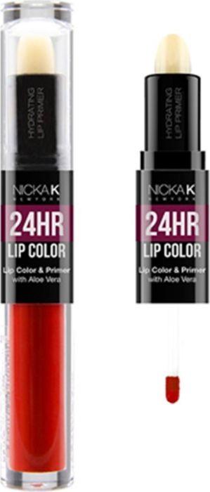 Nicka K NY 24HR Lip Color губная помада, 1,5 мл, оттенок CRIMSON017502Богатый цвет в сочетании с увлажняющим праймером, обеспечивающим длительный матовый эффект. Праймер для губ подготавливает губы, продлевает стойкость макияжа, улучшает внешний вид последующего мэйкапа, делает цвет более чистым и насыщенным. Цветовая гамма губных помад предлагает множество сочных оттенков под любой вид повседневной одежды, которая будет дополнять и выделять любое настроение, в котором вы находитесь.