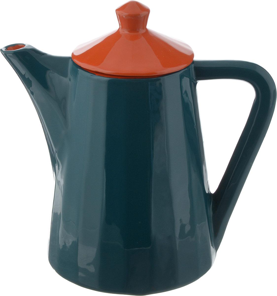 Чайник заварочный Борисовская керамика Ностальгия, цвет: зеленый, оранжевыйРАД14458176_зеленый, оранжевый