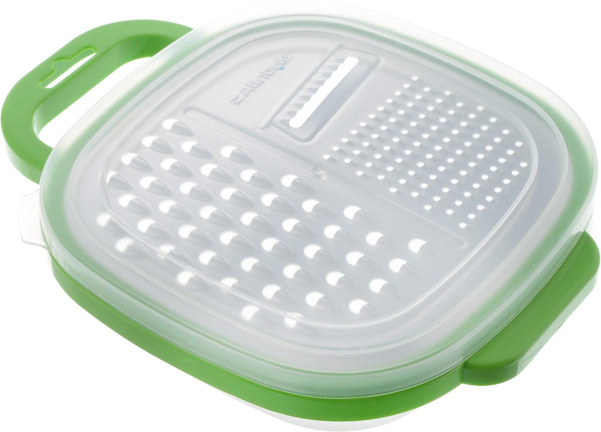 """Терка с контейнером Attribute """"Viva Grey-Green"""" выполнена из нержавеющей стали и пластика. Терка снабжена пластиковым контейнером для приемки уже нарезанных продуктов."""