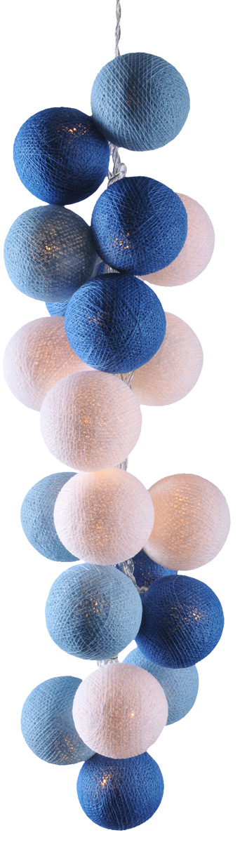 Гирлянда электрическая Гирляндус Сине-бело-голубые, из ниток, LED, 220В, 20 ламп, 3 м4670025842631Интерьерная гирлянда ручной работы. Шарики изготовлены из ротанговых прутиков вручную и окрашены натуральными красителями. При размещении возле стены они отбрасывают красивые узорные тени, подчёркивающие любой интерьер. В гирлянде используются низковольтные лампочки. Запасные лампочки и инструкция - в комплекте.