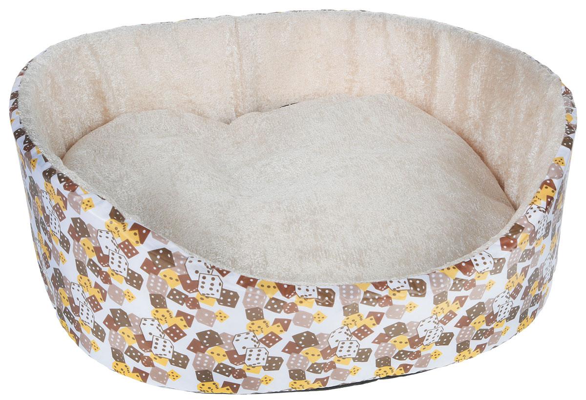 """Лежак для животных GLG """"Нежность. Кубики"""", цвет: бежевый, коричневый, желтый, 40 x 36 x 15 см"""