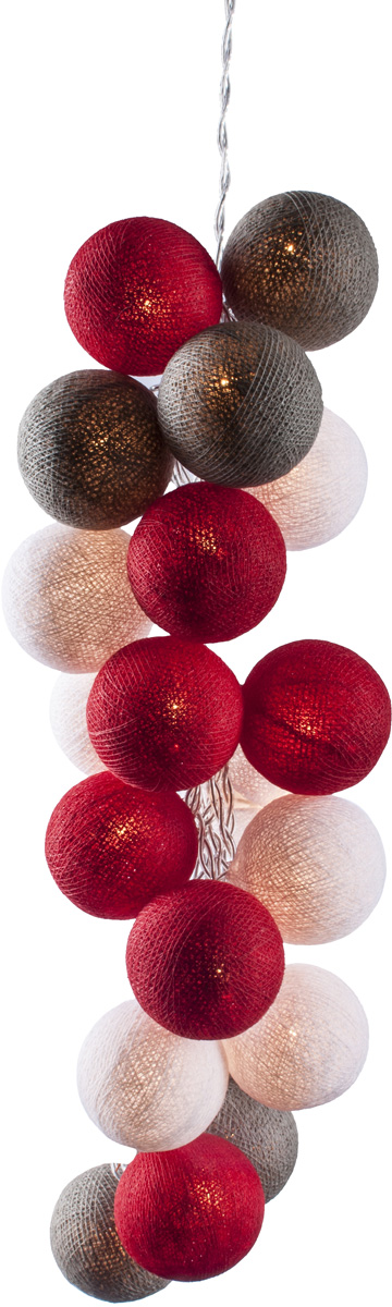 Гирлянда электрическая Гирляндус Рудольф, из ниток, LED, 220В, 20 ламп, 3 м4670025842617Интерьерная гирлянда ручной работы. Шарики изготовлены из ротанговых прутиков вручную и окрашены натуральными красителями. При размещении возле стены они отбрасывают красивые узорные тени, подчёркивающие любой интерьер. В гирлянде используются низковольтные лампочки. Запасные лампочки и инструкция - в комплекте.