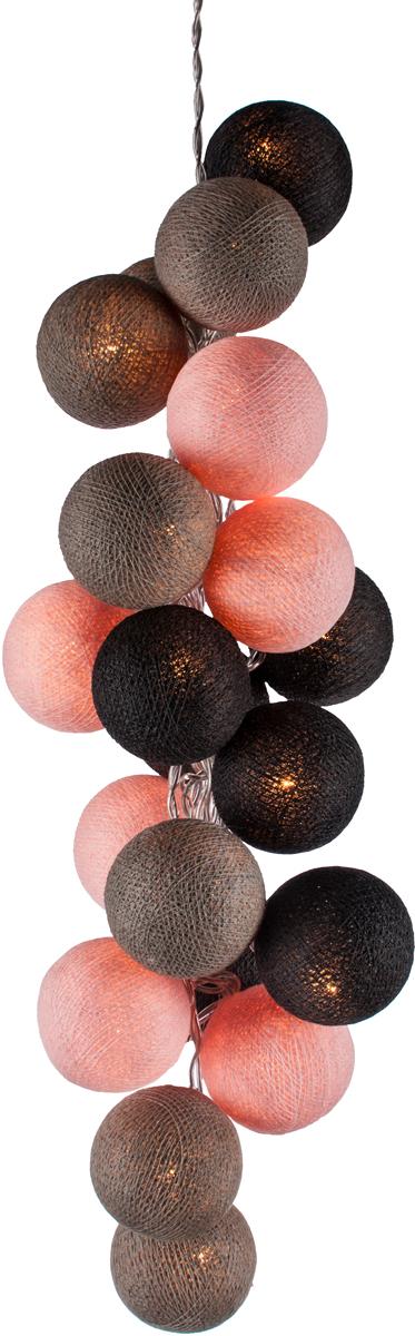 Гирлянда электрическая Гирляндус Сакура, из ниток, LED, 220В, 20 ламп, 3 м4670025844826Интерьерная гирлянда ручной работы. Шарики изготовлены из ротанговых прутиков вручную и окрашены натуральными красителями. При размещении возле стены они отбрасывают красивые узорные тени, подчёркивающие любой интерьер. В гирлянде используются низковольтные лампочки. Запасные лампочки и инструкция - в комплекте.