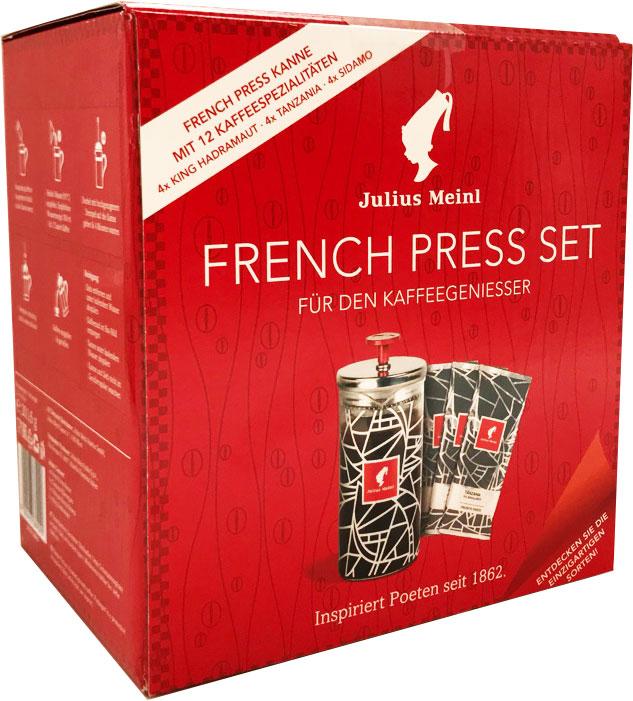 Julius Meinl подарочный набор: френч пресс + 3 вида кофе julius meinl президент кофе молотый 250 г