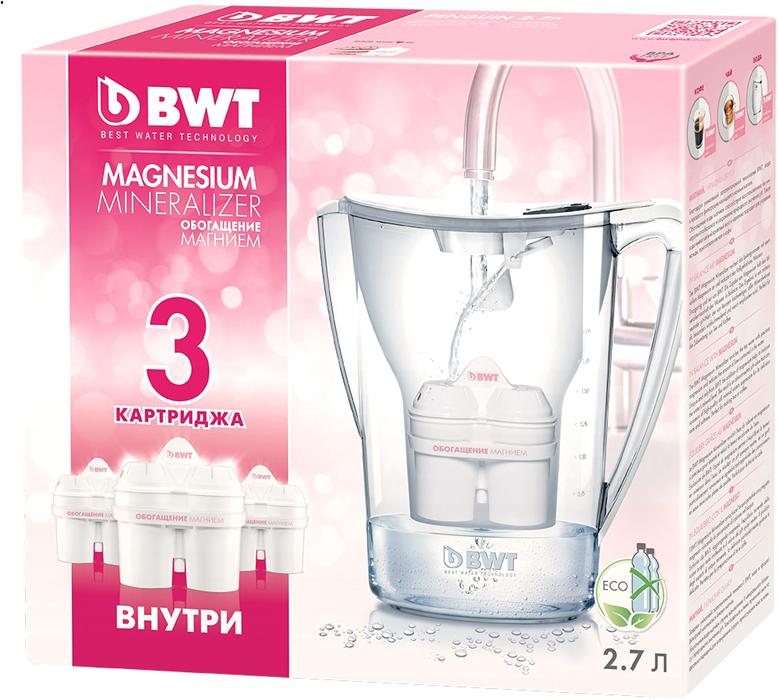 Фильтр-кувшин для доочистки воды BWT Пингвин, белый, 2,7 л + 3 кассеты фильтрующие сменные фильтр для воды bwt в251р00 penguin