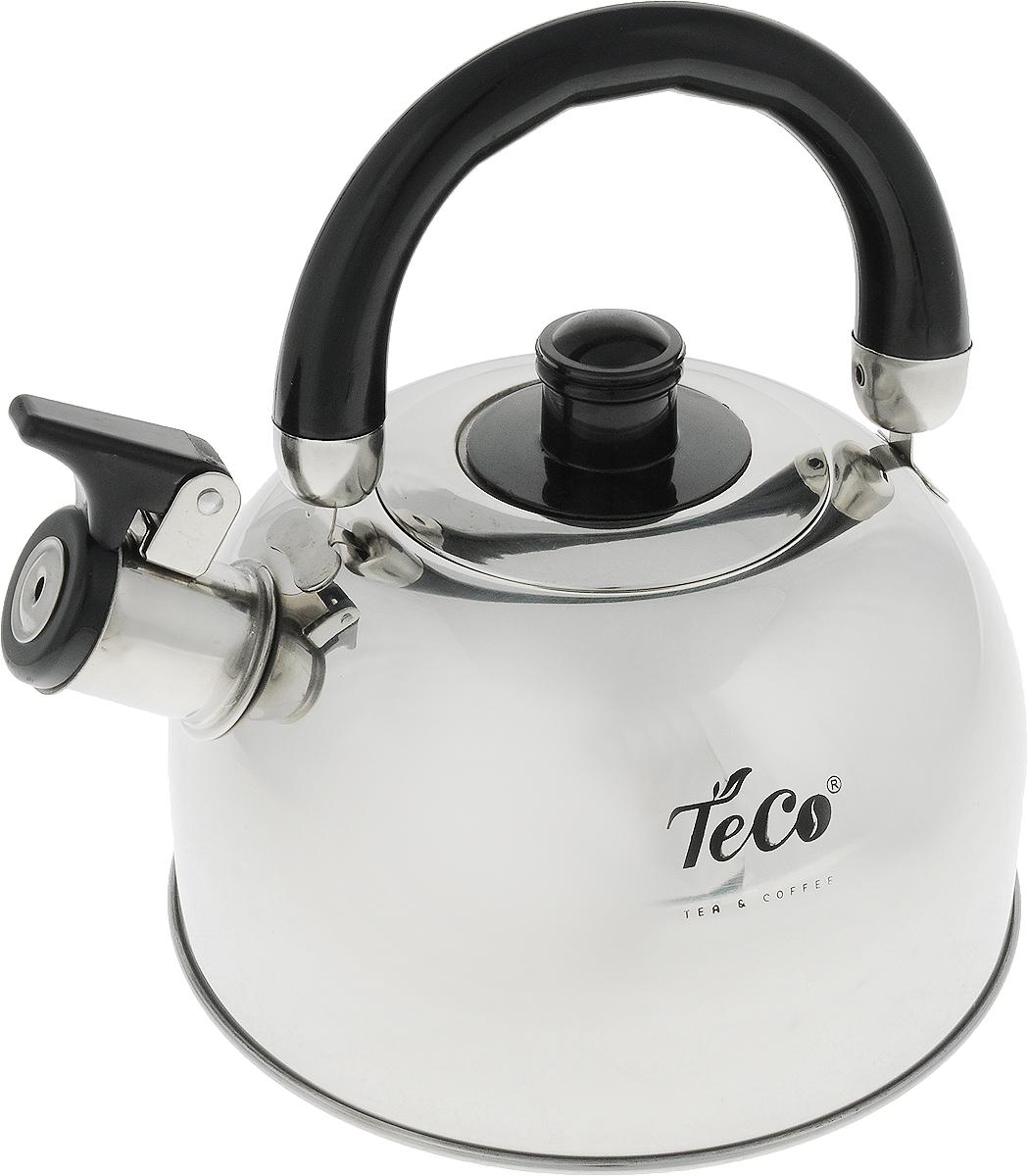 Чайник Teco, со свистком, цвет: стальной, черный, 2 л. TC-120TC-120Чайник Teco выполнен из высококачественной нержавеющей стали, которая не окисляется и не впитывает запахи, напитки всегда будут ароматны. Фиксированная ручка, изготовленная из металла и бакелита, Носик снабжен открывающимся свистком, что позволит вам контролировать процесс подогрева или кипячения воды.Эстетичный и функциональный чайник будет оригинально смотреться в любом интерьере.Подходит для всех типов плит, кроме индукционных. Можно мыть в посудомоечной машине.