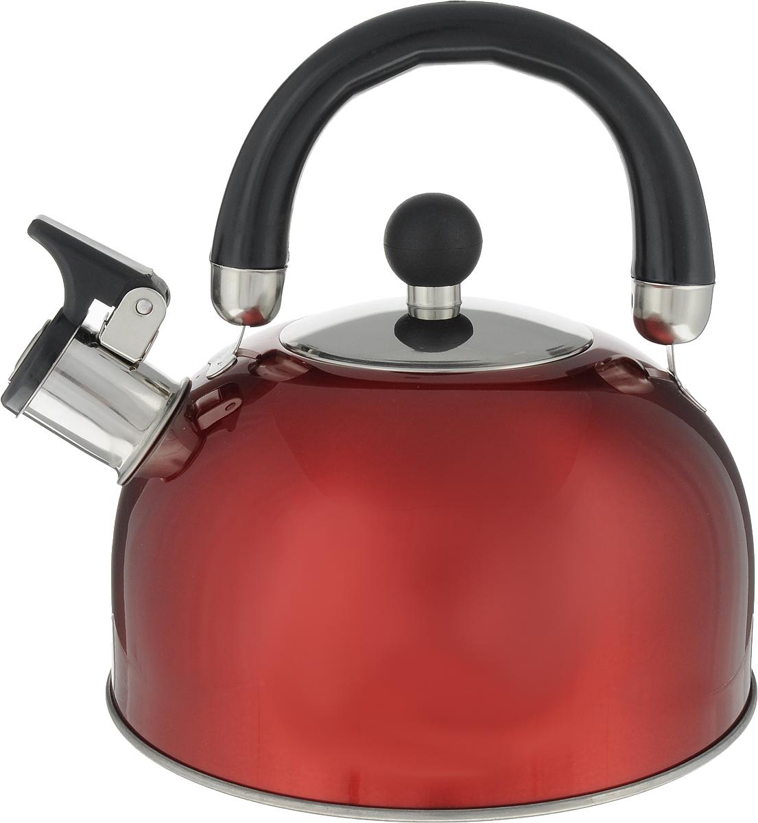 Чайник Teco, со свистком, цвет: красный, 2,8 л. TC-117TC-117Чайник Teco выполнен из высококачественной нержавеющей стали, которая не окисляется и не впитывает запахи, напитки всегда будут ароматны. Фиксированная ручка, изготовленная из металла и бакелита. Чайник снабжен открывающимся носиком, что делает использование чайника очень удобным и безопасным. Носик изготовлен со свистком, что позволит вам контролировать процесс подогрева или кипячения воды.Эстетичный и функциональный чайник будет оригинально смотреться в любом интерьере.Подходит для всех типов плит, кроме индукционных. Можно мыть в посудомоечной машине.