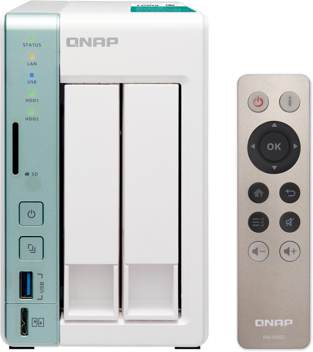 QNAP TS-251A-2G 20TB сетевое хранилище502079Cетевой накопитель QNAP TS-251A-2G Сетевой RAID-накопитель, 2 отсека для HDD, с функцией USB Quick Access, HDMI-порт. Intel Celeron N3060 1,6 ГГц (до
