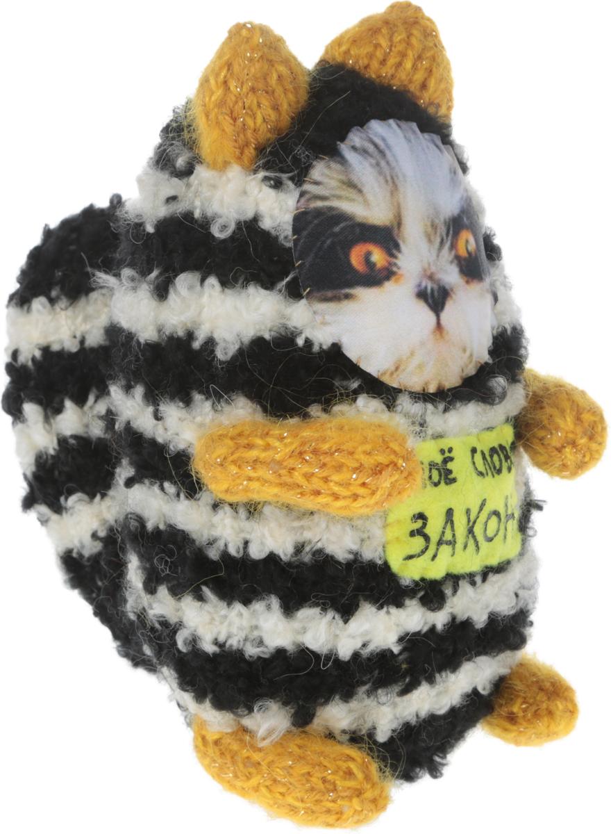 Мягкая игрушка Бюро находок Котик. Мое слово - Закон, цвет: белый, черный, желтый, 18 см рюмка бюро находок сними напряжение цвет прозрачный