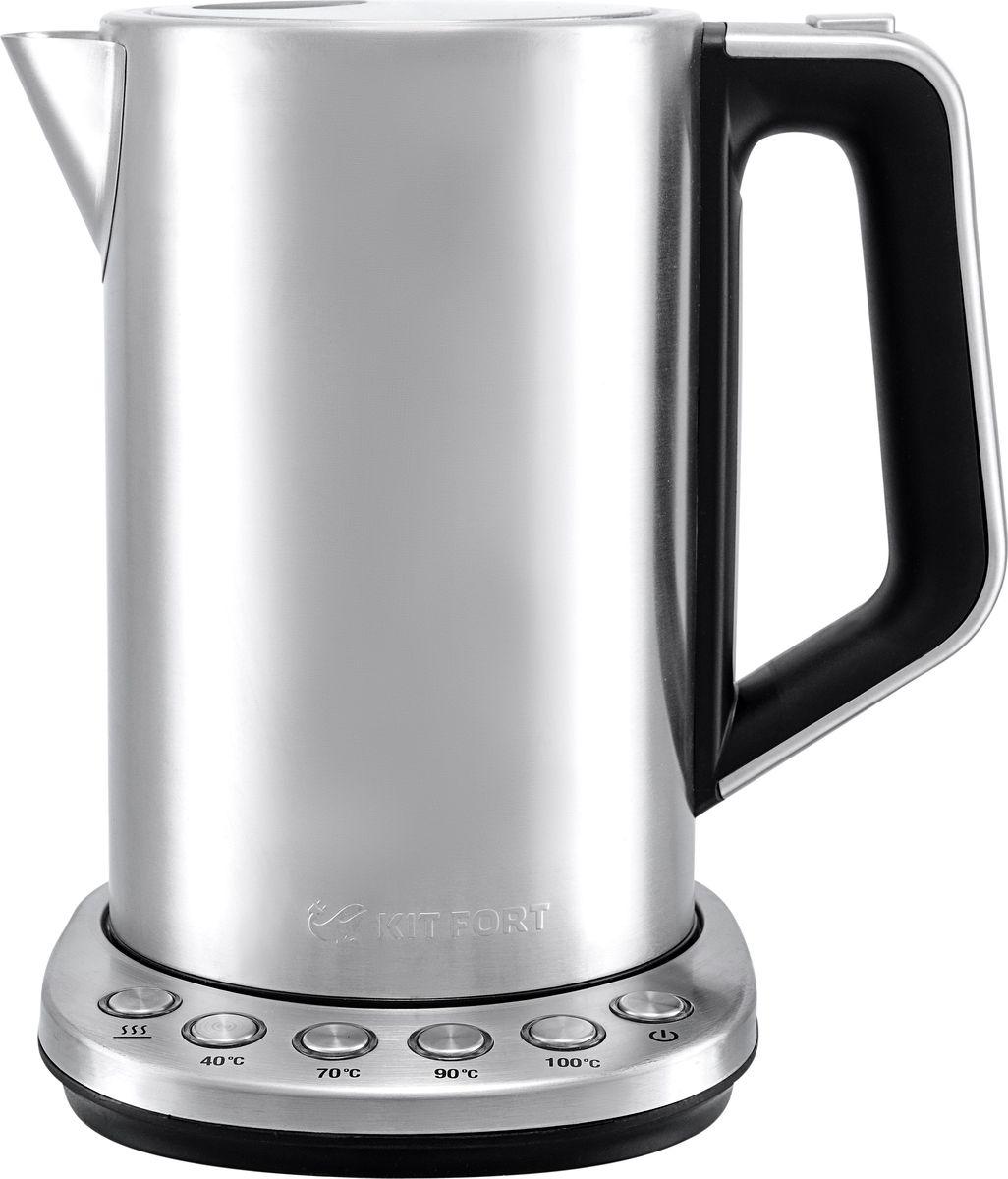 Kitfort КТ-621 чайник электрическийКТ-621Электрический чайник с терморегулятором Kitfort КТ-621 может не только вскипятить воду, но и нагреть ее дотемпературы 40,70 и 90°С, что необходимо для правильного заваривания различных сортов чая и полногораскрытия вкуса напитков.С заботой о самых маленьких. Температура 40°С пригодится для приготовления детского питания.Функция поддержания температуры. С помощью этой функции чайник поддерживает заданную температуру водыв течение 1 часа.На долгий срок службы. Корпус чайника выполнен из нержавеющей стали, а подставка — из сочетания пластмассыи нержавеющей стали. Ручка чайника пластиковая, не нагревается и удобно лежит в руке. Чайник имеет защиту отперегрева и защиту от включения без воды.Удобная мерная шкала. Мерная шкала расположена под ручкой, что делает чайник удобным как для правшей, так идля левшей.Легко мыть. Большое горлышко чайника облегчает доступ внутрь при его очистки.