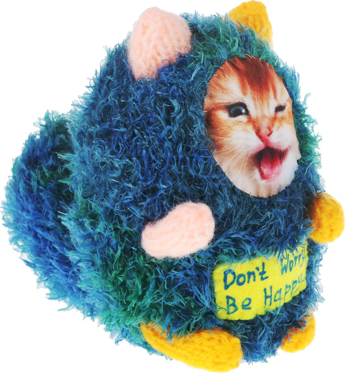 Мягкая игрушка Бюро находок Котик. Don't Worry, Be Happy…, цвет: голубой, зеленый, желтый, 15 см рюмка бюро находок сними напряжение цвет прозрачный