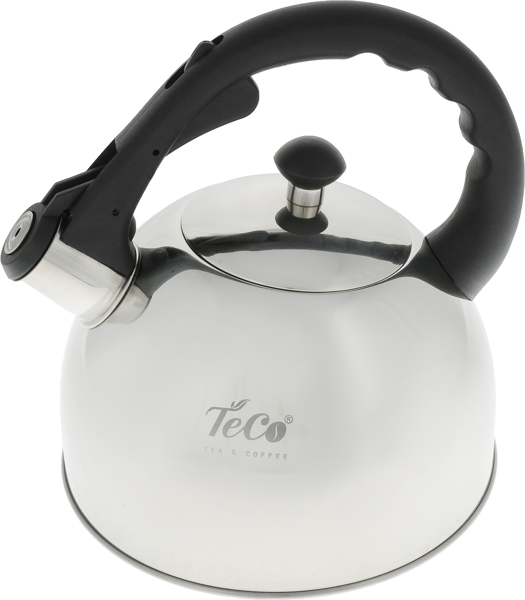 Чайник Teco, со свистком, цвет: стальной, черный, 3 л. TC-118TC-118Чайник Teco выполнен из высококачественной нержавеющей стали, которая не окисляется и не впитывает запахи, напитки всегда будут ароматны. Фиксированная ручка, изготовленная из металла и бакелита, снабжена клавишей для открывания носика, что делает использование чайника очень удобным и безопасным. Носик снабжен свистком, что позволит вам контролировать процесс подогрева или кипячения воды.Эстетичный и функциональный чайник будет оригинально смотреться в любом интерьере.Подходит для всех типов плит, кроме индукционных. Можно мыть в посудомоечной машине.