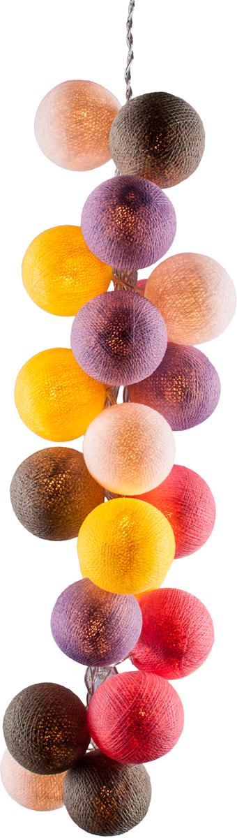 Гирлянда электрическая Гирляндус Пудинг, из ниток, LED, 220В, 20 ламп, 3 м4670025842587Интерьерная гирлянда ручной работы. Шарики изготовлены из ротанговых прутиков вручную и окрашены натуральными красителями. При размещении возле стены они отбрасывают красивые узорные тени, подчёркивающие любой интерьер. В гирлянде используются низковольтные лампочки. Запасные лампочки и инструкция - в комплекте.