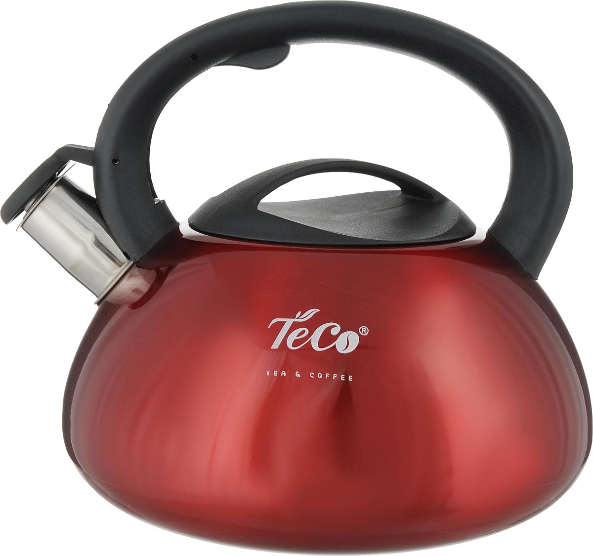 Чайник Teco, со свистком, цвет: красный, 3 л. TC-102-R gipfel чайник для кипячения воды visit 2 7 л