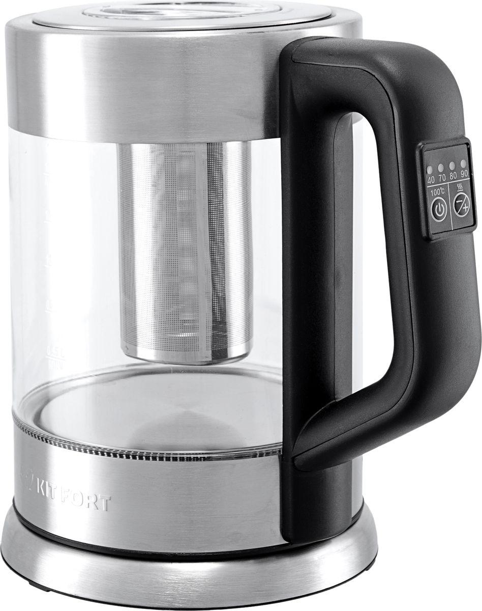 Kitfort КТ-623 чайник электрическийКТ-623Электрический чайник с терморегулятором Kitfort КТ-623 может не только вскипятить воду, но и нагреть ее до температуры 40, 70 и 90 °С, что очень удобно при заваривании различных сортов чая. Температура 40 оС пригодится для приготовления детского питания. Чайник также оснащен функцией поддержания температуры. Температура воды контролируется встроенным в дно чайника термодатчиком. Корпус чайника выполнен из стекла, а крышка и подставка — из сочетания пластмассы и нержавеющей стали. Мерная шкала нанесена на прозрачную часть корпуса. Большое горлышко чайника облегчает доступ внутрь при его мойке и во время удаления накипи. Ручка чайника пластиковая, не нагревается и удобно лежит в руке. На ручке расположены кнопки выбора режимов работы и световые индикаторы. В комплекте идет съемный чаезаварочный механизм, так что вы можете заварить чай прямо в чайнике.