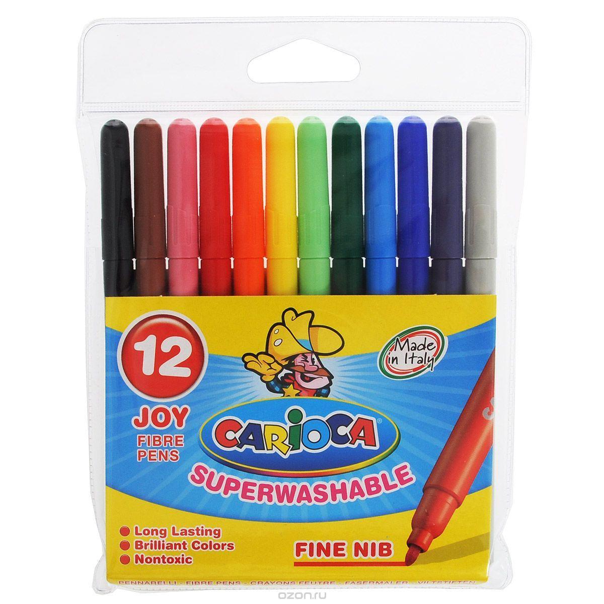 Carioca Набор суперсмываемых фломастеров 12 цветов набор фломастеров universal carioca mini jumbo 6 шт разноцветный 40106 6