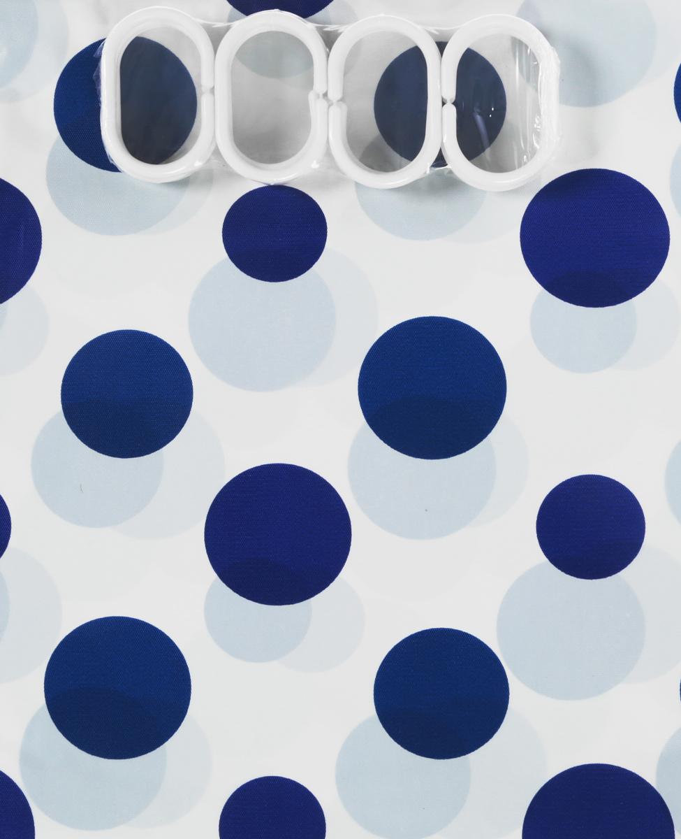 Штора для ванной комнаты Top Star Круги, цвет: белый, синий, 180 х 180 см282830_синие кругиШтора для ванной комнаты Top Star Круги, изготовленная из материала PEVA с водоотталкивающей пропиткой, идеально защищает ванную комнату от брызг. В верхней кромке шторы предусмотрены отверстия для пластиковых колец (входят в комплект). Изделие оснащено 3 магнитами. Яркий дизайн шторы с принтом в горошек украсит интерьер ванной комнаты.