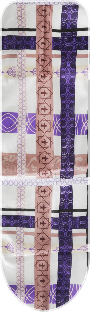 Чехол для гладильной доски Eva, цвет: белый, коричневый, фиолетовый, 120 х 38 смЕ13*_белый, коричневый, фиолетовыйЧехол для гладильной доски Eva выполнен из хлопчатобумажной ткани, с поролоновой подкладкой. Чехол предназначен для защиты или замены изношенного покрытия гладильной доски. Благодаря удобной системе фиксации легко крепится. Этот качественный чехол обеспечит вам легкое глажение. Размер чехла: 120 x 38 см. Максимальный размер доски: 112 x 32 см.