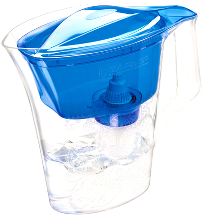 """Настольный фильтр-кувшин для очистки воды Барьер """"Танго"""" - это кувшин в узком корпусе с элегантным узором, устойчивым к истиранию.  Кувшин изготовлен из безопасных материалов, рекомендованных для контакта с питьевой водой.  Особенности:  - Возможность размещения в дверце холодильника. - Удобная цельнолитая ручка. - Эргономичный выступ на крышке кувшина, за который ее удобно открывать и закрывать. - Надежное резьбовое крепление кассеты к воронке кувшина исключает попадание неочищенной воды из воронки в отфильтрованную воду."""