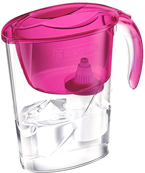Фильтр-кувшин для очистки воды Барьер Эко, цвет: цвет: пурпурный4601032990817Настольный фильтр-кувшин для очистки воды Барьер Эко - это компактный кувшин для миниатюрной кухни. Кувшин изготовлен из безопасных материалов, рекомендованных для контакта с питьевой водой.Особенности: - Возможность размещения в дверце холодильника.- Удобная консольная ручка.- Автоматически открывающаяся воронка. Воронка открывается при наклоне кувшина.- Защита от попадания загрязнений. Конструкция воронки защищает от попадания пыли в отфильтрованную воду.- Надежное резьбовое крепление кассеты к воронке кувшина исключает попадание неочищенной воды из воронки в отфильтрованную воду. - В комплект входит кассета Стандарт.