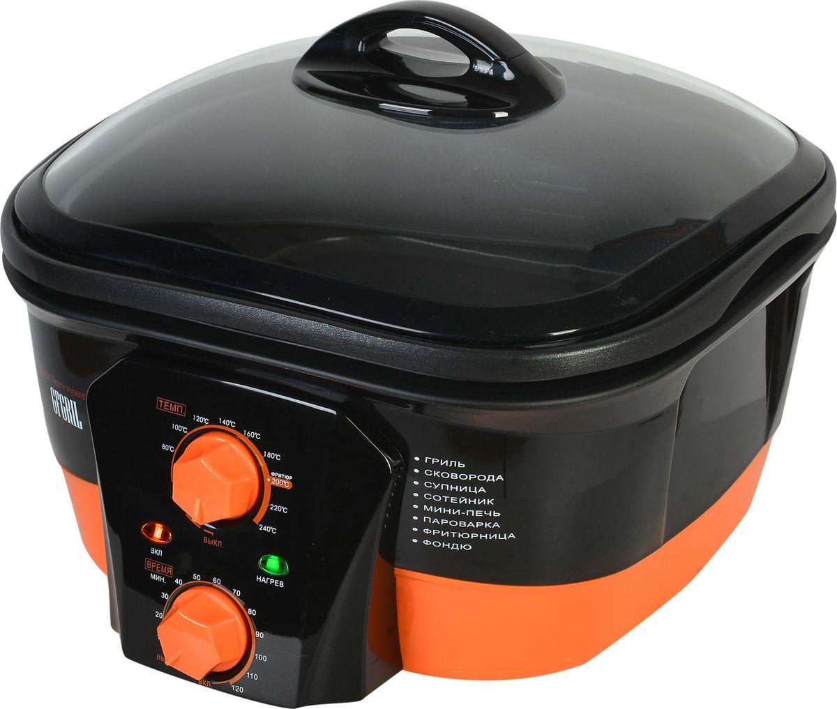 Gfgril GFM-508M, Orange мультиваркаGFM-508MМультиварка нового поколения с функцией электрогриля. Отличается от известных мультиварок многофункциональностью и объединяет в себе несколько функций, включая электрогриль и фритюрницу. Встроенный в чашу нагревательный элемент обеспечивает быстрый и сильный нагрев. Антипригарное покрытие. Объем чаши 5 л. Таймер на 120 мин. Регулировка температуры до 240°С. Функция поддержания установленной температуры. Высокая мощность 1500 Вт. Индикаторы включения и нагрева. Жаропрочная стеклянная крышка. В комплекте 4 аксессуара: хромированная корзина для фритюра, хромированная решетка для пароварки, низкая решетка для запекания, 6 вилок для фондю.
