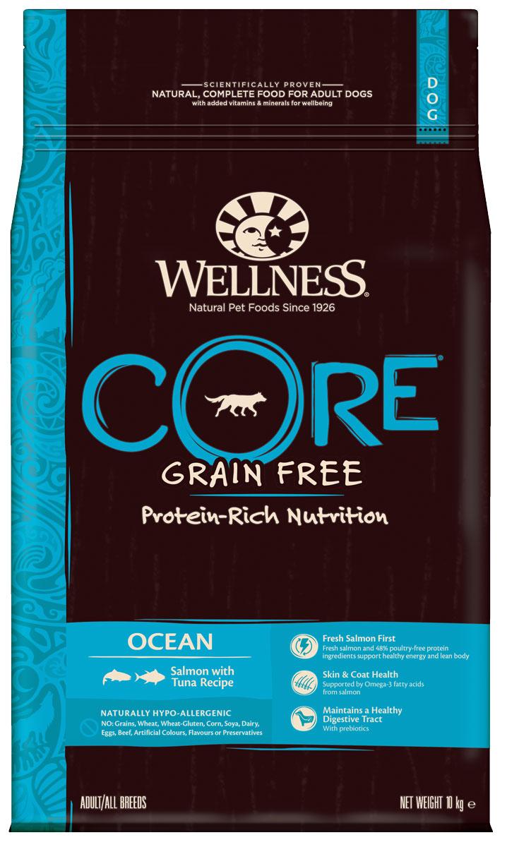 Корм сухой Wellness CORE Ocean, для взрослых собак, беззерновой, лосось с тунцом, 10 кгW10746Беззерновой сухой корм для собак Wellness CORE Ocean богат белком и витаминами. Корм создан в полном соответствии с потребностями домашних любимцев, которые по сути своей были и остаются хищниками. Именно поэтому все корма Wellness CORE являются беззерновыми, а свежее мясо и рыба - ингредиент №1 во всех рецептурах.В рыбе содержится гораздо больше питательных веществ: белков, жиров, минеральных солей и микроэлементов, чем в мясе. Морская рыба лидирует среди других сортов по содержанию фосфора, йода и кальция, а белок легко переваривается. Поэтому изысканное сочетание мяса тунца и лосося в рационе Wellness CORE Ocean не только порадуют маленького гурмана великолепным вкусом, но и станет незаменимым источником макро- и микроэлементов.Входящие в состав корма морские водоросли содержат большое количество йода и минеральных веществ, способствующих ускорению обмена веществ и повышению иммунитета животного. Состав: лосось 30% (свежее мясо 16%, рыбная мука 14%), горох, тунец ( рыбная мука) 14%, сушеный картофель, картофельный белок, сушеная свекла 5%, рапсовое масло, необезжиренное льняное семя 4%, сушеный рыбный белок 2%, жир лосося 2%, сушеный корень цикория 0,5%, морковь, яблоки, брокколи, шпинат, черника, клюква, томаты, юкка Шидигера, дрожжевой экстракт ( источник маннанолигосахаридов), глюкозаминa гидрохлорид 100 мг/кг, хондроитинa сульфат 100 мг/кг. Добавки: натуральные антиоксиданты; Enterococcus faecium NCIMB 4b1705, 109 КОЕ - улучшает и восстанавливает микрофлору кишечника собак. Добавки, повышающие питательную ценность ( на кг.): витамин A 14 000 МЕ, витамин D3 850 МЕ, витамин E 120 мг, сульфат цинка моногидрат 125 мг, сульфат железа моногидрат 100 мг, сульфат меди пентагидрат 10 мг, оксид марганца 3 мг, йодат кальция безводный 1 мг, селенит натрия 0,2 мг.Пищевая ценность: белки 34%, жиры 16%, сырая клетчатка 5%, сырая зола 9,5%, жирные кислоты Омега-6 3,20%, жирные кислот