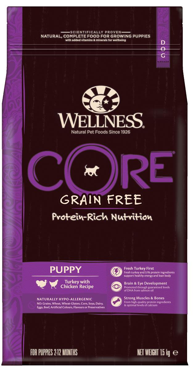 Корм сухой Wellness CORE Puppy для щенков, беззерновой, индейка с курицей, 1,5 кгW10747Беззерновой сухой корм для собак Wellness CORE богат белком и витаминами. Корм создан в полном соответствии с потребностями домашних любимцев, которые по сути своей были и остаются хищниками. Именно поэтому все корма Wellness CORE являются беззерновыми, а свежее мясо и рыба - ингредиент №1 во всех рецептурах.Wellness CORE для щенков - оптимальный рацион для здорового развития растущего организма щенка: жир лосося, входящий в состав, является превосходным источником докозагексаеновой кислоты (ДГК), которая чрезвычайно важна для роста мозговой ткани и формирования нервной системы организма, а шпинат содержит магний и железо, способствующие нормализации уровня сахара в крови и регуляции сердечных ритмов. Оптимальный баланс кальция и фосфора, которыми обогащён корм, способствуют формированию здорового скелета питомца. СОСТАВ: индейка 28% (свежее мясо 14%, мясная мука 14%), горох, картофельный белок, сушеный картофель, курица (мясная мука) 11%, куриный жир 7%, сушеный куриный белок 5%, необезжиренное льняное семя, сушеная свекла 2%, жир лосося 1%, сушеный корень цикория 0,5%, морковь, яблоки, брокколи, шпинат, черника, клюква, томаты, сушеная мята, юкка Шидигера, дрожжевой экстракт (источник маннанолигосахаридов), глюкозаминa гидрохлорид 100 мг/кг, хондроитинa сульфат 100 мг/кг. ДОБАВКИ: натуральные антиоксиданты; Enterococcus faecium NCIMB 4b1705, 109 КОЕ — улучшает и восстанавливает микрофлору кишечника собак. ДОБАВКИ, ПОВЫШАЮЩИЕ ПИТАТЕЛЬНУЮ ЦЕННОСТЬ (НА КГ): витамин A 14 000 МЕ, витамин D3 850 МЕ, витамин E 120 мг, сульфат цинка моногидрат 125 мг, сульфат железа моногидрат 100 мг, сульфат меди пентагидрат 10 мг, оксид марганца 3 мг, йодат кальция безводный 1 мг, селенит натрия 0,2 мг. ПИЩЕВАЯ ЦЕННОСТЬ: белки 37%, жиры 17%, сырая клетчатка 3,8%, сырая зола 9,5%, кальций 1,59%, фосфор 1,17%, жирные кислоты Омега-6 2,3%, жирные кислоты Омега-3 1,3%, докозагексаеновая кислота (ДГК) 0,1%