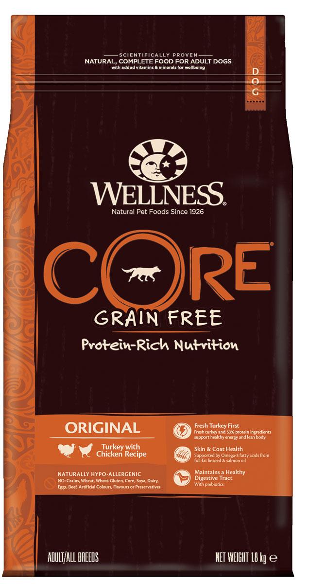 Корм сухой Wellness CORE Original, для взрослых собак, беззерновой, индейка с курицей, 1,8 кгW10749Беззерновой сухой корм для кошек Wellness CORE Original богат белком и витаминами. Корм создан в полном соответствии с потребностями домашних любимцев, которые по сути своей были и остаются хищниками. Именно поэтому все корма Wellness CORE являются беззерновыми, а свежее мясо и рыба - ингредиент №1 во всех рецептурах. Входящие в состав пробиотики и пребиотики улучшают процесс пищеварения и укрепляют иммунную систему питомцев. Wellness CORE Original для кошек - это богатый питательными веществами рецепт поддержания оптимального здоровья и хорошего пищеварения благодаря входящему в состав высококачественному животному белку и пробиотикам. А целебные свойства брусники способны предупредить развитие воспалений мочеполовой системы и почек. Входящий в состав Витамин Е - мощный антиоксидант, который снижает риск возникновения болезней сердца, замедляет процесс старение и увеличивает продолжительность жизни питомца.Состав: индейка 26% (свежее мясо 16%, мясная мука 10%), курица 21% (мясная мука 16%, сушеная курица 5%), горох, картофельный белок, куриный жир 6%, лосось (рыбная мука) 5%, сушеный картофель, необезжиренное льняное семя 3%, сушеная свекла 2%, клетчатка, жир лосося, сушеный корень цикория 0,5%, клюква, сушеная ламинария, юкка Шидигера. Добавки: натуральные антиоксиданты; Enterococcus faecium NCIMB 4b1705, 109 КОЕ - улучшает и восстанавливает микрофлору кишечника кошек. Добавки, повышающие питательную ценность (на кг): витамин A 20 000 МЕ, витамин D3 1 500 МЕ, витамин E 500 мг, таурин 1 100 мг, L-карнитин 100 мг, сульфат цинка моногидрат 75 мг, сульфат железа моногидрат 70 мг, сульфат меди пентагидрат 10 мг, оксид марганца 10 мг, йодат кальция безводный 1 мг, селенит натрия 0,2 мг. Пищевая ценность: белки 44%, жиры 16%, сырая клетчатка 5,5%, сырая зола 9%, таурин 0,2%, жирные кислоты Омега-6 1,75%, жирные кислоты Омега-3 1,25%.Энергетическая ценность: 3 575 ккал/кг.