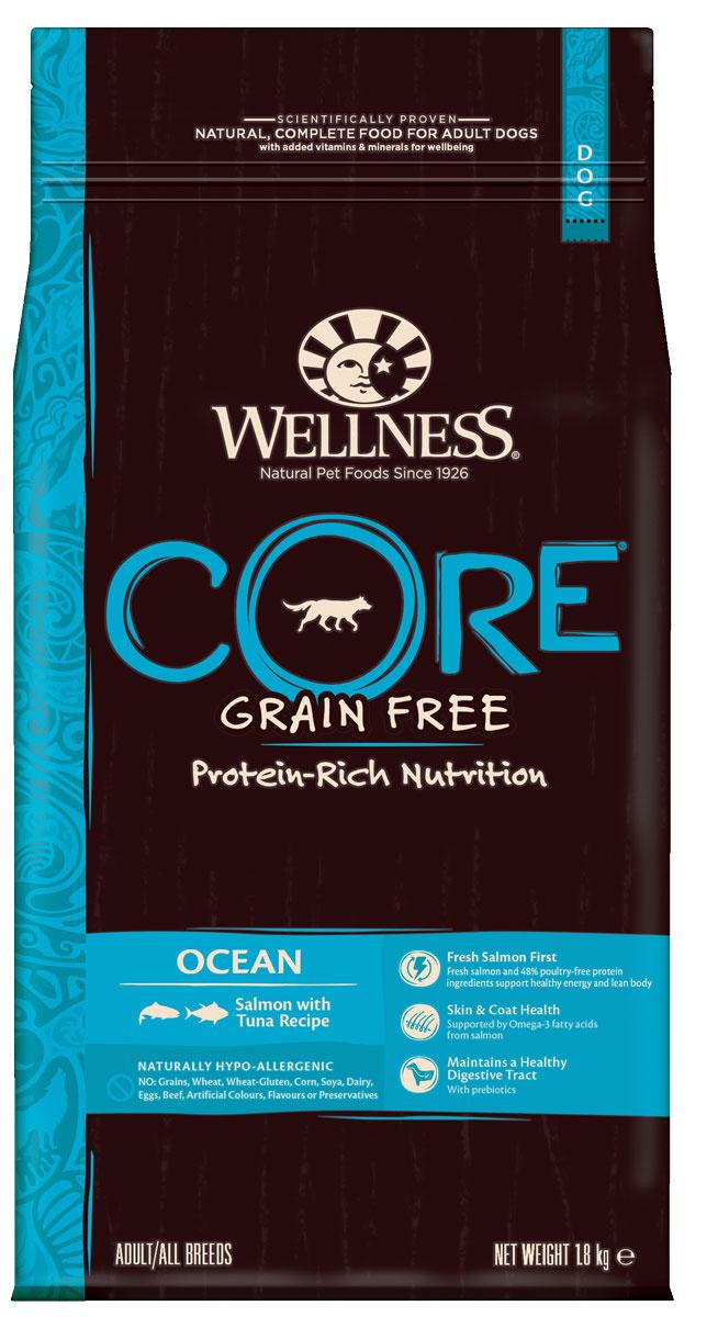 Корм сухой Wellness CORE Ocean, для взрослых собак, беззерновой, лосось с тунцом, 1,8 кгW10750Беззерновой сухой корм для собак Wellness CORE Ocean богат белком и витаминами. Корм создан в полном соответствии с потребностями домашних любимцев, которые по сути своей были и остаются хищниками. Именно поэтому все корма Wellness CORE являются беззерновыми, а свежее мясо и рыба - ингредиент №1 во всех рецептурах.В рыбе содержится гораздо больше питательных веществ: белков, жиров, минеральных солей и микроэлементов, чем в мясе. Морская рыба лидирует среди других сортов по содержанию фосфора, йода и кальция, а белок легко переваривается. Поэтому изысканное сочетание мяса тунца и лосося в рационе Wellness CORE Ocean не только порадуют маленького гурмана великолепным вкусом, но и станет незаменимым источником макро- и микроэлементов.Входящие в состав корма морские водоросли содержат большое количество йода и минеральных веществ, способствующих ускорению обмена веществ и повышению иммунитета животного. Состав: лосось 30% (свежее мясо 16%, рыбная мука 14%), горох, тунец ( рыбная мука) 14%, сушеный картофель, картофельный белок, сушеная свекла 5%, рапсовое масло, необезжиренное льняное семя 4%, сушеный рыбный белок 2%, жир лосося 2%, сушеный корень цикория 0,5%, морковь, яблоки, брокколи, шпинат, черника, клюква, томаты, юкка Шидигера, дрожжевой экстракт ( источник маннанолигосахаридов), глюкозаминa гидрохлорид 100 мг/кг, хондроитинa сульфат 100 мг/кг. Добавки: натуральные антиоксиданты; Enterococcus faecium NCIMB 4b1705, 109 КОЕ — улучшает и восстанавливает микрофлору кишечника собак. Добавки, повышающие питательную ценность ( на кг.): витамин A 14 000 МЕ, витамин D3 850 МЕ, витамин E 120 мг, сульфат цинка моногидрат 125 мг, сульфат железа моногидрат 100 мг, сульфат меди пентагидрат 10 мг, оксид марганца 3 мг, йодат кальция безводный 1 мг, селенит натрия 0,2 мг.Пищевая ценность: белки 34%, жиры 16%, сырая клетчатка 5%, сырая зола 9,5%, жирные кислоты Омега-6 3,20%, жирные кисло