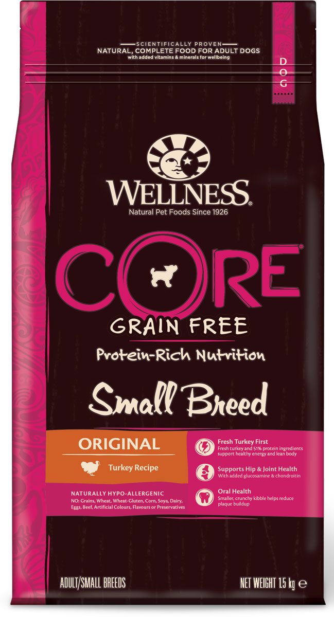 Корм сухой Wellness CORE Small Breed Original, для собак мелких пород, беззерновой, индейка, 1,5 кг пудовъ мука ржаная обдирная 1 кг