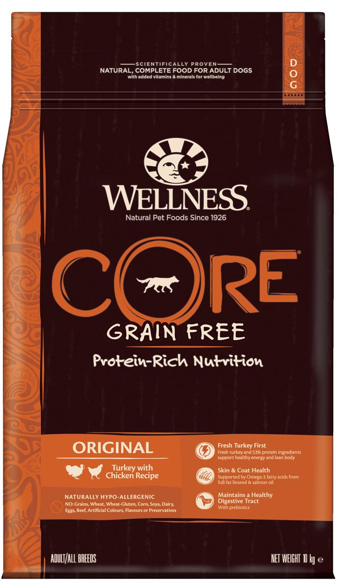 Корм сухой Wellness CORE Original для взрослых собак, беззерновой, индейка с курицей, 10 кг пудовъ мука ржаная обдирная 1 кг