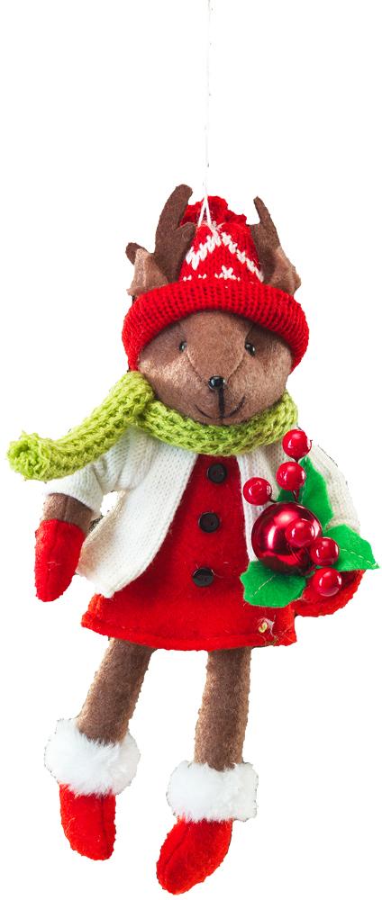 Очаровательное подвесное украшение в виде зверька в праздничном наряде подарит массу положительных эмоций. Мягкая и приятная на ощупь, игрушка станет замечательным подарком, а также милым украшением праздничного интерьера.  Новогодние украшения всегда несут в себе волшебство и красоту праздника. Создайте в своем доме атмосферу тепла, веселья и радости, украшая его всей семьей.