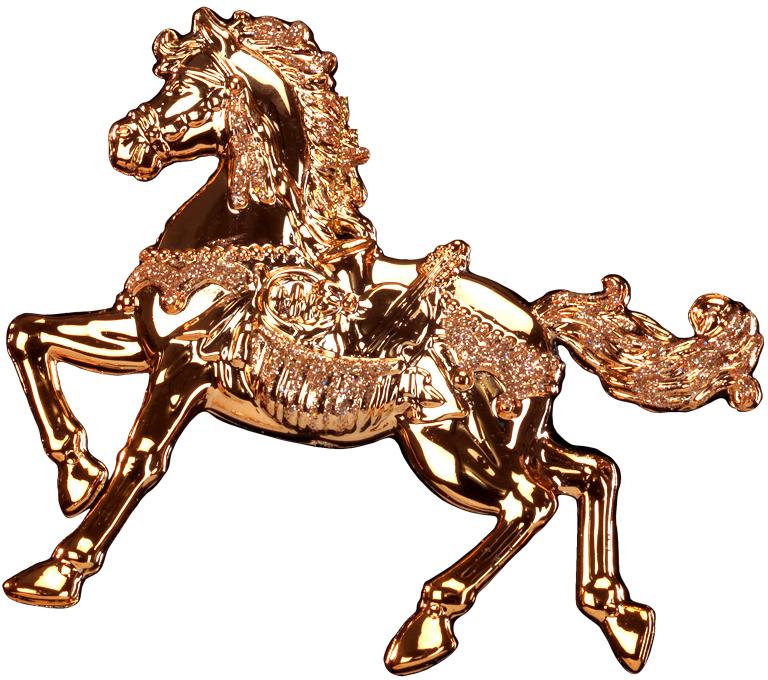 Украшение для интерьера новогоднее Erich Krause Скакун, 12,5 см. 4340243402Грациозный конь выполнен в цвете розового золота и декорирован блестками. Фигурки животных всегда пользуются большой популярностью, и спрос на них является стабильно высоким. Новогодние украшения всегда несут в себе волшебство и красоту праздника. Создайте в своем доме атмосферу тепла, веселья и радости, украшая его всей семьей.