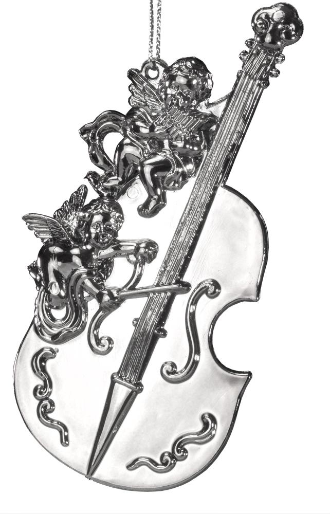 Украшение для интерьера новогоднее Erich Krause Ангельская музыка, 11 см43485Музыкальный инструмент выполнен в цвете серебра с металлическим отливом. Изюминкой украшения являются миниатюрные ангелочки, гордо восседающие на инструменте. Представлено две модели в ассортименте, находятся в групповой упаковке в равных долях. Выбор модели невозможен. Упаковка - полибэг.
