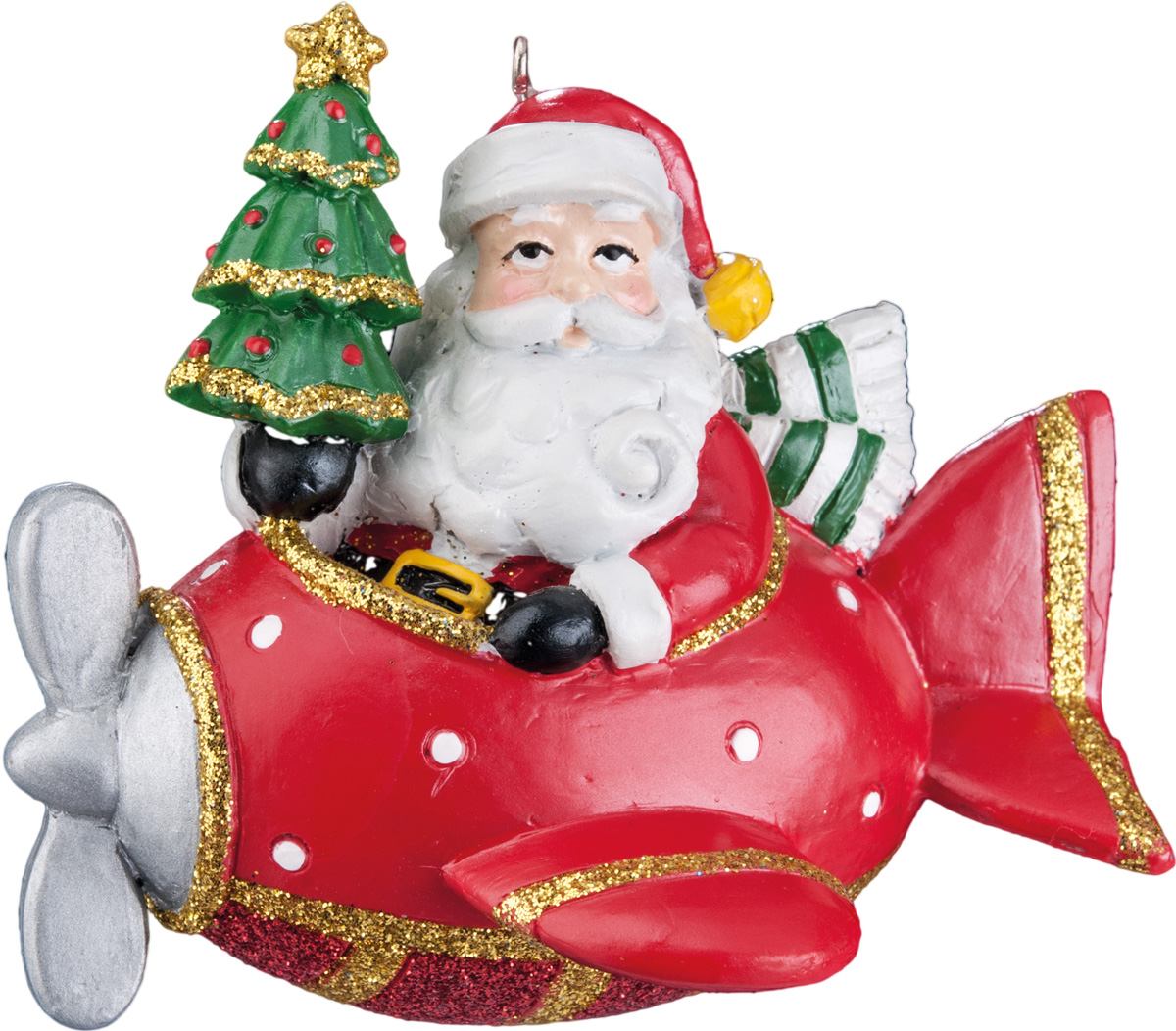 Украшение для интерьера новогоднее Erich Krause Рождественский полет, 8,5 см37751Украшение имеет много интересных деталей: самолет, Дед Мороз, и елка. Упаковка - полибэг.