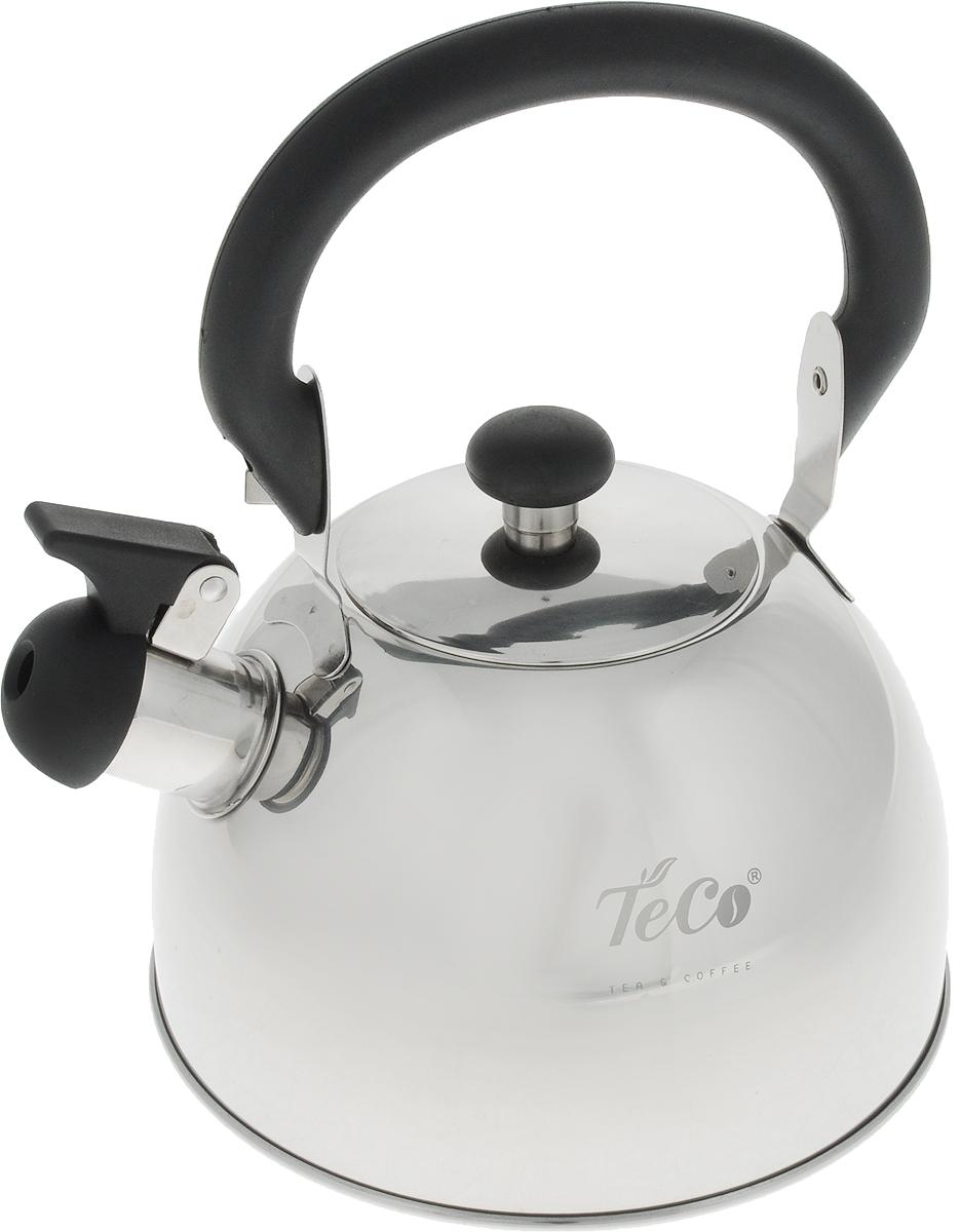 """Чайник """"Teco"""" выполнен из высококачественной нержавеющей стали, которая не окисляется и не впитывает запахи, напитки всегда будут ароматны. Фиксированная ручка, изготовленная из металла и бакелита, Носик снабжен открывающимся свистком, что позволит вам контролировать процесс подогрева или кипячения воды.Эстетичный и функциональный чайник будет оригинально смотреться в любом интерьере.Подходит для всех типов плит, кроме индукционных. Можно мыть в посудомоечной машине."""