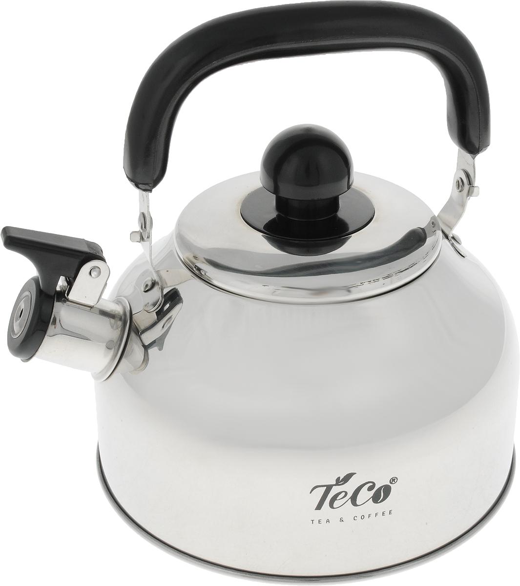 """Чайник """"Teco"""" выполнен из высококачественной нержавеющей стали c капсульным дном, которая не окисляется и не впитывает запахи, напитки всегда будут ароматны. Фиксированная ручка, изготовленная из металла и бакелита, Носик снабжен открывающимся свистком, что позволит вам контролировать процесс подогрева или кипячения воды.Эстетичный и функциональный чайник будет оригинально смотреться в любом интерьере.Подходит для всех типов плит, кроме индукционных. Можно мыть в посудомоечной машине."""
