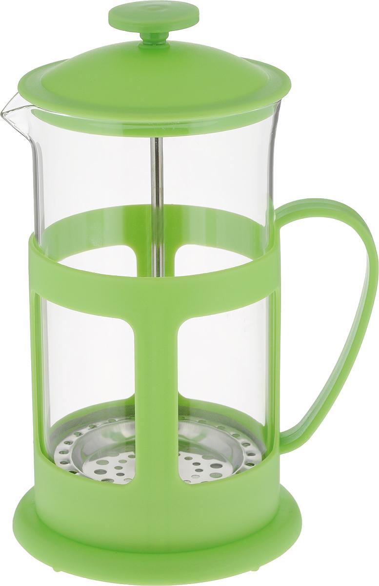Френч-пресс Teco, цвет: зеленый, 600 млTC-P1060-G(зеленый)Френч-пресс Teco с корпусом из стекла и пластика предназначен для заваривания чая, приготовления кофе и других напитков. Колба изготовлена из жаропрочного стекла и имеет практичный носик, что препятствует образованию подтеков и делает френч-пресс еще более удобным в обращении. Благодаря прозрачности стекла, можно визуально оценить состояние заварки и ее крепость. Благодаря специальному поршню с встроенным фильтром, изготовленным из нержавеющей стали, напиток получается чистым и прозрачным. А яркий пластик, из которого изготовлен каркас френч-пресса, делает изделие ещё более привлекательным. Френч-пресс прост в эксплуатации и уходе: он легко разбирается и моется.Также его можно мыть в посудомоечной машине. Объем: 600 мл.