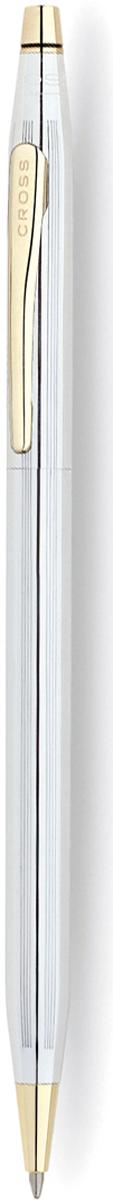 Cross Ручка шариковая Century Classic цвет корпуса серебристый золотистый3302Шариковая ручка Cross Century II Medalist прекрасно сочетает в себе классический дизайн коллекции Century Classic с немного большим диаметром корпуса. Покрытие - зеркальный хром с глубокой гравировкой в виде продольных линий. Поверхность хорошо отполирована вручную. Некоторые элементы дизайна выполнены из позолоты в 23 карата. Пишущий узел среднего размера подойдет для письма со средним и сильным нажатием. Американский производитель дает бессрочную гарантию от механических повреждений. Специальный конвертор позволит использовать ручку в качестве механического карандаша с диаметром грифеля 0.7 миллиметра. В комплект входит 1 стержень и подарочная упаковка. Каждая ручка CROSS имеет пожизненную механическую гарантию.