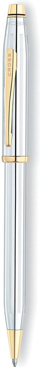 Cross Ручка шариковая Century II цвет корпуса серебристый золотистый3302WGШариковая ручка Cross Century II Medalist прекрасно сочетает в себе классический дизайн коллекции Century Classic с немного большим диаметром корпуса. Покрытие - зеркальный хром с глубокой гравировкой в виде продольных линий. Поверхность хорошо отполирована вручную. Некоторые элементы дизайна выполнены из позолоты в 23 карата. Пишущий узел среднего размера подойдет для письма со средним и сильным нажатием. Американский производитель дает бессрочную гарантию от механических повреждений. Специальный конвертор позволит использовать ручку в качестве механического карандаша с диаметром грифеля 0.7 миллиметра. В комплект входит 1 стержень и подарочная упаковка. Каждая ручка CROSS имеет пожизненную механическую гарантию.