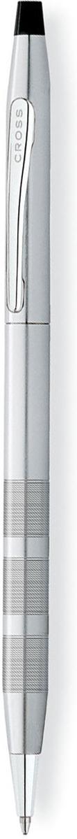 Cross Ручка шариковая Century Classic цвет корпуса темно-серебристыйAT0082-14Американская компания CROSS – один из старейших брендов среди производителей пишущих инструментов и деловых аксессуаров. Компания была основана в 1846 году ювелиром Ричардом Кроссом и изначально специализировалась на производстве роскошных ротом и серебром. На протяжении долгих лет пишущие инструек из драгоценных металлов и ювелирных корпусов для карандашей, тисненных золотом и серебром. На протяжении долгих лет пишущие инструменты CROSS остаются классическим выбором для подарка.Ручка CROSS — это оригинальный персонгальный подарок и неотъемлемый элемент вашего стиля.Это голос доверия,который создает долгосрочные отношения между людьми и обогащет смыслом драгоценные моменты.Каждая ручка CROSS имеет пожизненную механическую гарантию. Шариковая ручка Cross Century Classic станет лучшим подарком для человека, ценящего неординарные вещи. Тонкий корпус выполнен из латуни и покрыт матовым хромом. Кроме того, металл не подвержен образованию коррозии, поэтому практичный презент прослужит долгие годы. Поверхность приятна на ощупь и украшена круговой алмазной гравировкой.Декор создан из зеркального хрома, который добавляет изысканный шарм в образ. Зажим оформлен логотипом производителя. Для активации стержня требуется повернуть верхнюю часть. Пишущий узел средней толщины и качественные чернила поразят аккуратностью создаваемых линий. Ручка идет в наборе со стильной подарочной коробкой.Тип товара: Ручка шариковая Коллекция Cross: Century Classic Толщина линии, мм: 0.7 Цвет чернил: черный Материал: латуньстальхромЦвет: серебристый Упаковка: подарочная коробка