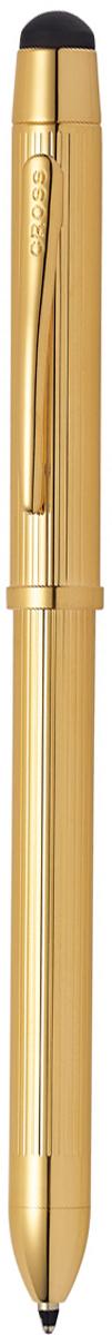 Cross Многофункциональная ручка Tech3+ цвет корпуса золотистыйAT0090-12Американская компания CROSS – один из старейших брендов среди производителей пишущих инструментов и деловых аксессуаров. Компания была основана в 1846 году ювелиром Ричардом Кроссом и изначально специализировалась на производстве роскошных ручек из драгоценных металлов и ювелирных корпусов для карандашей, тисненных золотом и серебром. На протяжении долгих лет пишущие инструменты CROSS остаются классическим выбором для подарка.Ручка CROSS — это оригинальный персонгальный подарок и неотъемлемый элемент вашего стиля.Это голос доверия,который создает долгосрочные отношения между людьми и обогащет смыслом драгоценные моменты.Каждая ручка CROSS имеет пожизненную механическую гарантию. Многофункциональная ручка Cross Tech3 Plus, Gold GT / АРТИКУЛ: AT0090-12 Состав: две шариковые ручки, механический карандаш и стилус. Стержень: черный (Black) и красный ( Red). Грифель: 0,5 мм. Стилус: силиконовый стилус. Корпус: ювелирная латунь. Механизм: поворотного действия. Отделка: тщательно отполированная до зеркального блеска поверхность, позолота 23Kt, оригинальная продольная гравировка, отдельные элементы дизайна - позолота 23Kt. Размеры ручки: длина - 13,57 см, максимальная ширина (диаметр) -0,89 см. Вес ручки: 22 гр. Цвет: золотистый с гравировкой. Особенности: встроенный стилус ( диаметр 8 мм). используются мини-стержни Cross для многофункциональных ручек. используются стандартные грифели Cross 0,5 мм для механических карандашей. имеется встроенный ластик. поставляется в подарочной упаковке. Cross Tech3 Plus коллекция, совмещающая в себе классическую элегантность с современными модными тенденциями. Ручки Cross Tech 3 - многофункциональные пишущие инструменты, удобство которых состоит в том, что шариковая ручка и грифель карандаша выдвигаются друг за другом последовательно, благодаря поворотному механизму. Особенности новой коллекции Cross Tech 3+: дополнительный элегантный аксессуар - stylus touch screen на т
