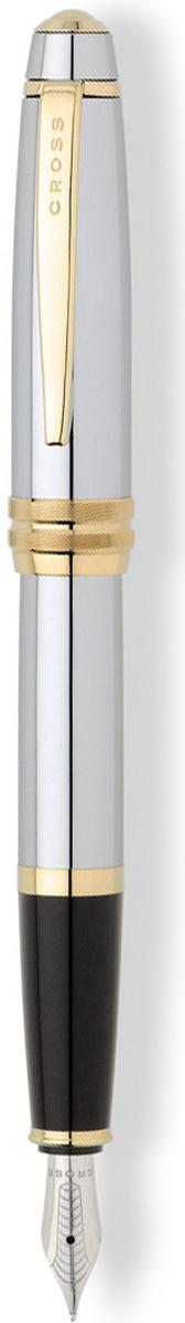 Cross Ручка перьевая Bailey цвет корпуса серебристый золотистыйAT0456-6MSАмериканская компания CROSS – один из старейших брендов среди производителей пишущих инструментов и деловых аксессуаров. Компания была основана в 1846 году ювелиром Ричардом Кроссом и изначально специализировалась на производстве роскошных ручек из драгоценных металлов и ювелирных корпусов для карандашей, тисненных золотом и серебром. На протяжении долгих лет пишущие инструменты CROSS остаются классическим выбором для подарка.Ручка CROSS — это оригинальный персонгальный подарок и неотъемлемый элемент вашего стиля.Это голос доверия,который создает долгосрочные отношения между людьми и обогащет смыслом драгоценные моменты.Каждая ручка CROSS имеет пожизненную механическую гарантию.Перьевая ручка Cross Bailey, Medalist (Перо M) / АРТИКУЛ: AT0456-6MS Модель 2012 годаПеро: нержавеющая сталь. Отделка пера: зеркальный хром, оригинальная гравировка. Механизм: съемный колпачек. Корпус: ювелирная латунь. Отделка: тщательно отполированный корпус, зеркальный хром, оригинальное рифление на кольце колпачка, отдельные элементы дизайна - позолота 23K. Цвет: зеркальный хром / золотой. Размеры: длина ручки 138 мм, толщина ручки (максимальный диаметр) 12,2 мм. Вес: 25 гр. Особенности: используются стандартные чернильные картриджи Cross, возможно использование специального поршневого конвертора Cross, приобретается отдельно. Механизм: съемный колпачок Цвет корпуса: серебряный, стальной Отделка элементов: золотой цвет Толщина корпуса: стандартная Перо: нержавеющая сталь Страна: США Толщина пишущего узла: m (среднее) Ассортимент ручек торговой марки Cross пополнился коллекцией Cross Bailey. Это серия классических ручек представительского стиля в средней ценовой категории. Строгий классический дизайн ручек Cross Bailey делает их универсальным рабочим инструментом, который подойдет и мужчинам, и женщинам. Ручки имеют гладкий обтекаемый металлический корпус с черным или красным лаковым покрытием, хромированной отделкой 