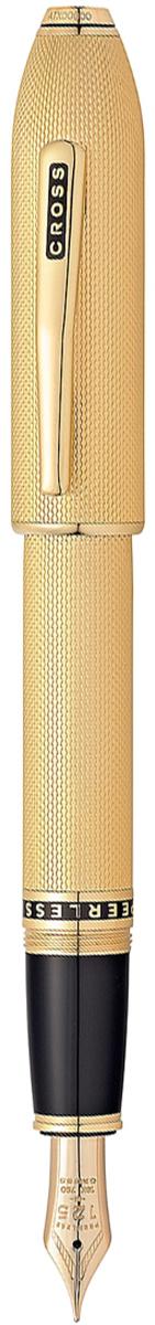 Cross Ручка перьевая Peerless 125 цвет корпуса золотистый перо золото 18КAT0706-4FDАмериканская компания CROSS – один из старейших брендов среди производителей пишущих инструментов и деловых аксессуаров. Компания была основана в 1846 году ювелиром Ричардом Кроссом и изначально специализировалась на производстве роскошных ручек из драгоценных металлов и ювелирных корпусов для карандашей, тисненных золотом и серебром. На протяжении долгих лет пишущие инструменты CROSS остаются классическим выбором для подарка.Ручка CROSS — это оригинальный персонгальный подарок и неотъемлемый элемент вашего стиля.Это голос доверия,который создает долгосрочные отношения между людьми и обогащет смыслом драгоценные моменты.Каждая ручка CROSS имеет пожизненную механическую гарантию.Ручка перьевая Cross Peerless 125, Heavy Gold Plate GT (Перо F) / АРТИКУЛ: AT0706-4FDПеро: золото 18 Kt. (750 проба). Отделка пера: оригинальная гравировка с юбилейной символикой 125. Корпус: ювелирная латунь. Механизм: съемный завинчивающийся колпачок. Система заправки: картриджно-конвертерная. Отделка: специальное покрытие 23 Kt. золотом (23 Kt. Heavy Gold Plated)с оригинальной алмазной гравировкой в виде продольных линий и тщательно отполированное вручную, специальная объемная гравировка PEERLESS 125 на барреле и CROSS на клипе колпачка с заполнением черным лаком, отдельные элементы дизайна - позолота 23 Kt. Размеры ручки: длина - 156 мм, максимальная ширина (диаметр) -13,2 мм. Вес ручки: 43 гр. Инкрустация: черный кристалл Swarovski на торце. Цвет: золотой. Особенности:поставляется в специальной подарочной упаковке. комплектуется поршневым конвертором для заправки чернилами из флакона. возможно использование чернильных картриджей Cross. завинчивающийся колпачок.Выпуск новой коллекции Cross Peerless 125 посвящен 125-летнему юбилею со дня выпуска компанией Cross первой перьевой ручки:В честь знаменитого наследия брэнда CROSS, символ статуса, из качественных материалов и отделкой. Символ статуса, подчеркнутый 